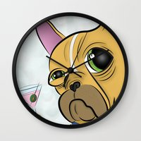 frenchie Wall Clocks featuring Frenchie by Kandus Johnson