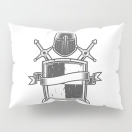 Medieval knight emblem with Crusader helmet shield swords and ribbon Pillow Sham