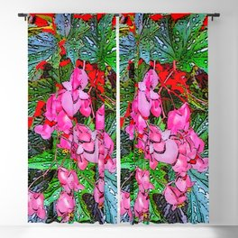 RED ART ANGEL WING PINK BEGONIA FLOWERS Blackout Curtain