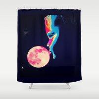 bubblegum Shower Curtains featuring Bubblegum Moon by Mel Moongazer