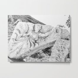 European City Ruins | Ephesus Carved Statue Rock Black and White Muted Gray Historical Wanderlust Metal Print