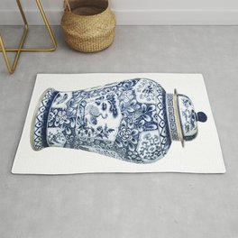 Blue & White Chinoiserie Cranes Porcelain Ginger Jar Rug