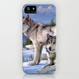 Two wolves in winter Siberian iPhone Case