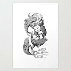 Mermaid and seals Art Print
