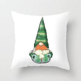 St Patrick Day | Patricks Gnome With Beer Throw Pillow