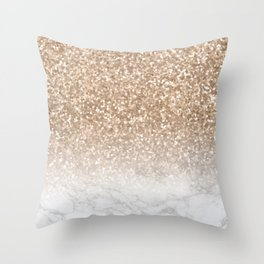 Sparkle - Gold Glitter and Marble Throw Pillow