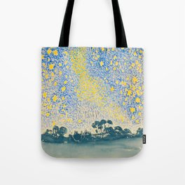 Henri-Edmond Cross Neo-Impressionism Pointillism Landscape with Stars Watercolor Painting Tote Bag