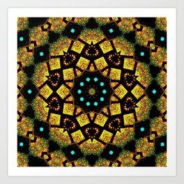 Bright Yellow Mosaic Symmetry Mandala Art Print