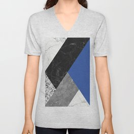 Black and White Marbles and Pantone Lapis Blue Color Unisex V-Neck