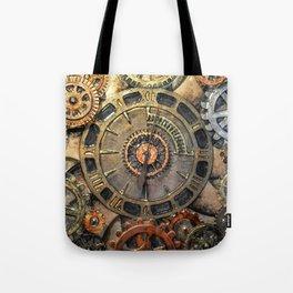 Steampunk Clock - Glass Art Tote Bag