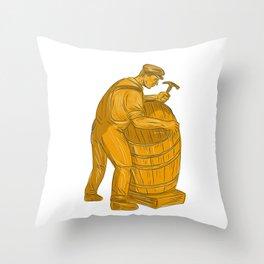 Cooper Making Wooden Barrel Drawing Throw Pillow