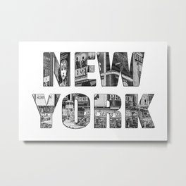 New York (photo filled type on white) Metal Print