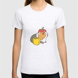 Bell Peppers and Guinea Pigs Pattern in White Background T-shirt