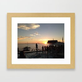 Sunset at Ricks Café 2014 -Negril, Jamaica Framed Art Print