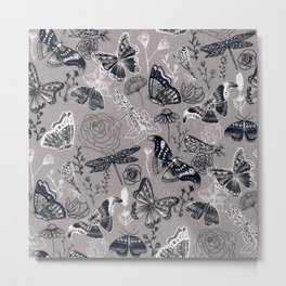 Dragonflies, Butterflies and Moths With Plants on Grey Metal Print