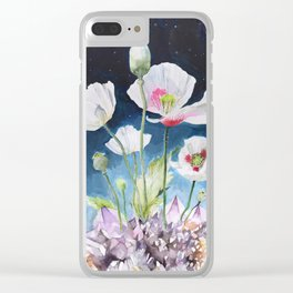 Papaver Somniferum and Amethyst Crystal on a Stary Night at Dawn Clear iPhone Case