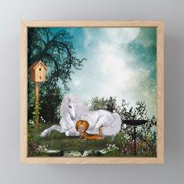 Cute fairy with unicorn Framed Mini Art Print
