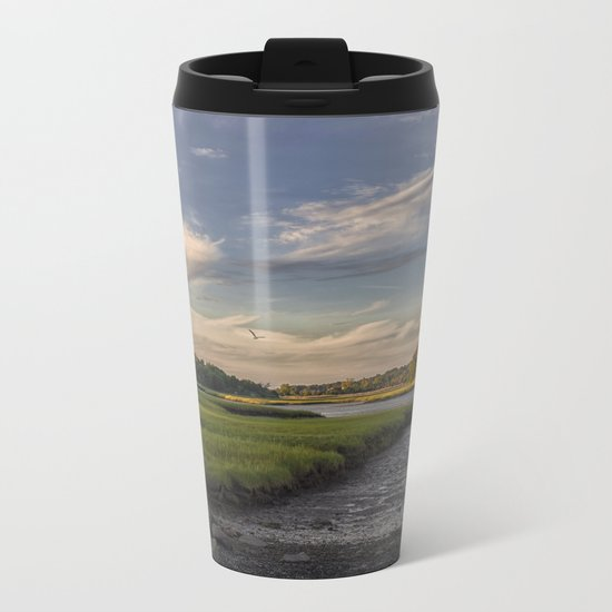 Summer Marsh Sunset Metal Travel Mug