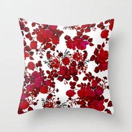 Botanical romantic red black elegant roses floral Throw Pillow