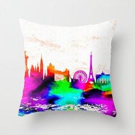 The International Skyline Watercolor Throw Pillow