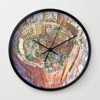 persona Wall Clocks featuring La Citta' Circolare by Luca Massone
