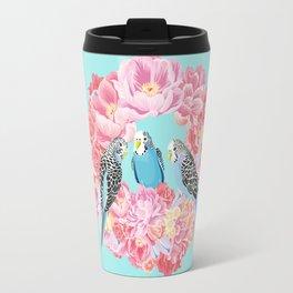 Birds of Paradise Parakeets Blue budgie Pink Peonies Flowers Wreath Travel Mug