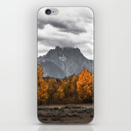 Teton Fall - Autumn Colors and Grand Tetons in Black and White iPhone Skin