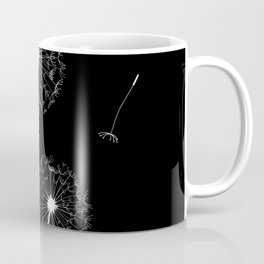Dandelion Three White on Black Background Coffee Mug