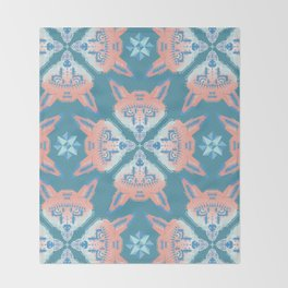 Pastel Fox Pattern Throw Blanket