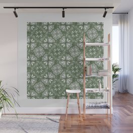 Continuous Flowers Pattern Tessellation in Green Wall Mural
