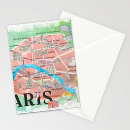 Paris France City Of Love Illustrated Travel Poster Favorite Map Tourist Highlights Stationery Cards