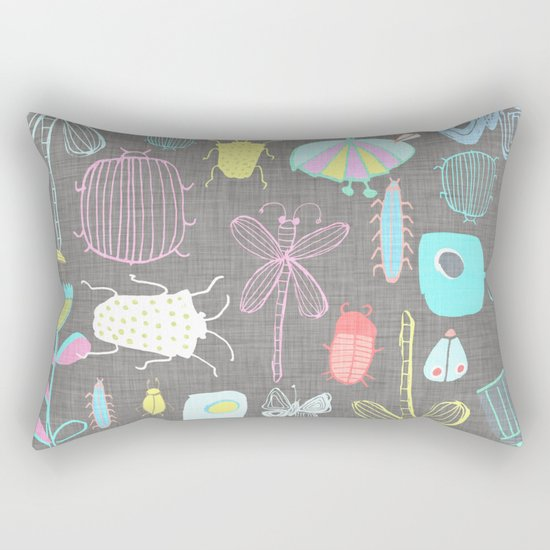 Insect watercolor grey textile texture Rectangular Pillow