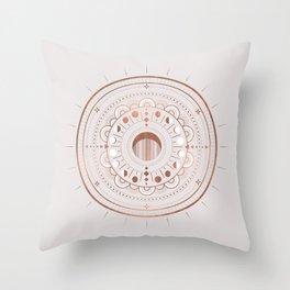 Rosè Moon Mandala Throw Pillow