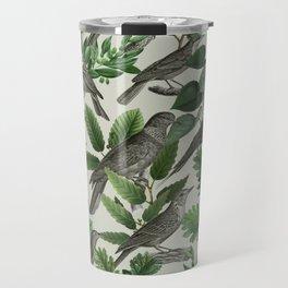 Botanical Birds in Branches Digital Collage of Vintage Elements Travel Mug