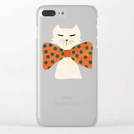 Cat with incredebly oversized humongous bowtie Clear iPhone Case
