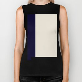 Eggshell and Blue Abstract Biker Tank