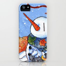 The First Snowman of the Season! iPhone Case