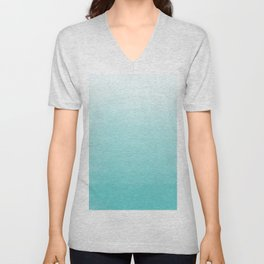 Modern teal watercolor gradient ombre brushstrokes pattern Unisex V-Neck