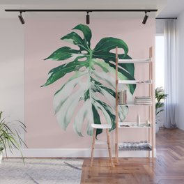 Monstera Albo Borsigiana in Pink Wall Mural