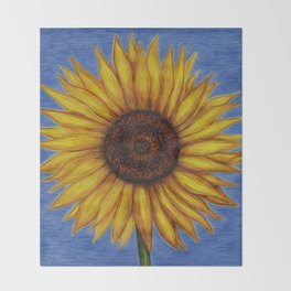 Sunflower by Lars Furtwaengler | Ink Pen | 2011 Throw Blanket
