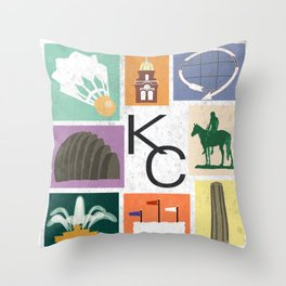 Kansas City Landmark Print Throw Pillow