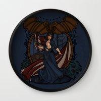 nouveau Wall Clocks featuring Elizabeth Nouveau by Karen Hallion Illustrations