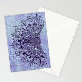 Doodle Peacock Purple Stationery Cards