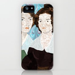 Bronte Sisters in Marbled Bookbinding Paper iPhone Case