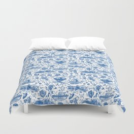 "Zelda ""Hero of Time"" Toile Pattern - Zora's Sapphire Duvet Cover"