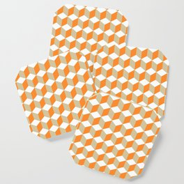 Diamond Repeating Pattern In Russet Orange and Grey Coaster