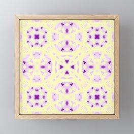 Pretty Cottagecore Fresh Summer Yellow Purple Moroccan Islamic Geometric Chintz Design Pattern Framed Mini Art Print