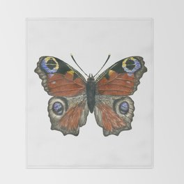 Peacock butterfly Throw Blanket