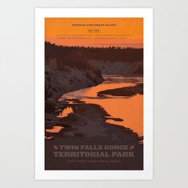 Twin Falls Gorge Territorial Park Art Print