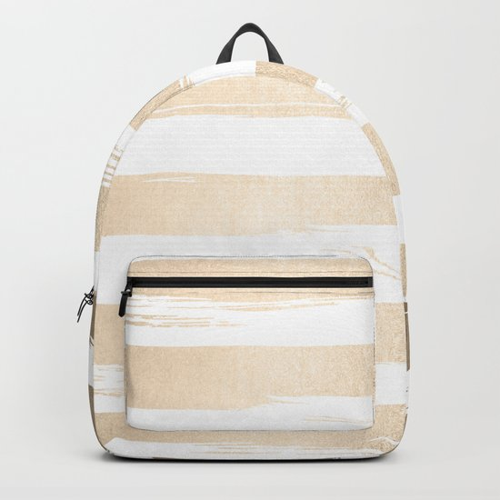 White Gold Sands Painted Thick Stripes Backpack